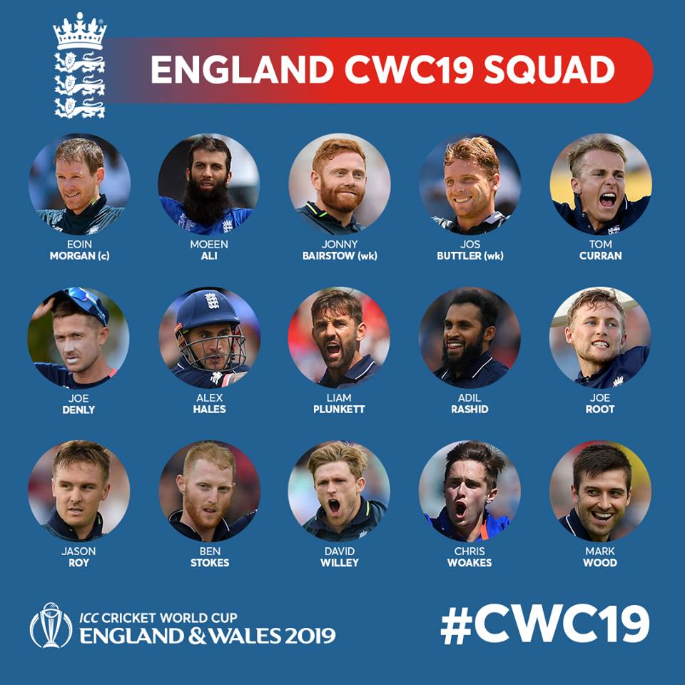 England World Cup 19 Squad