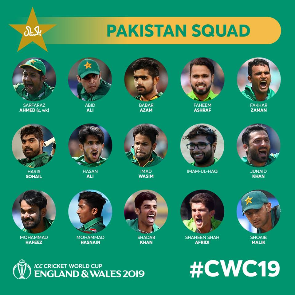 Pakistan World Cup 19 Squad