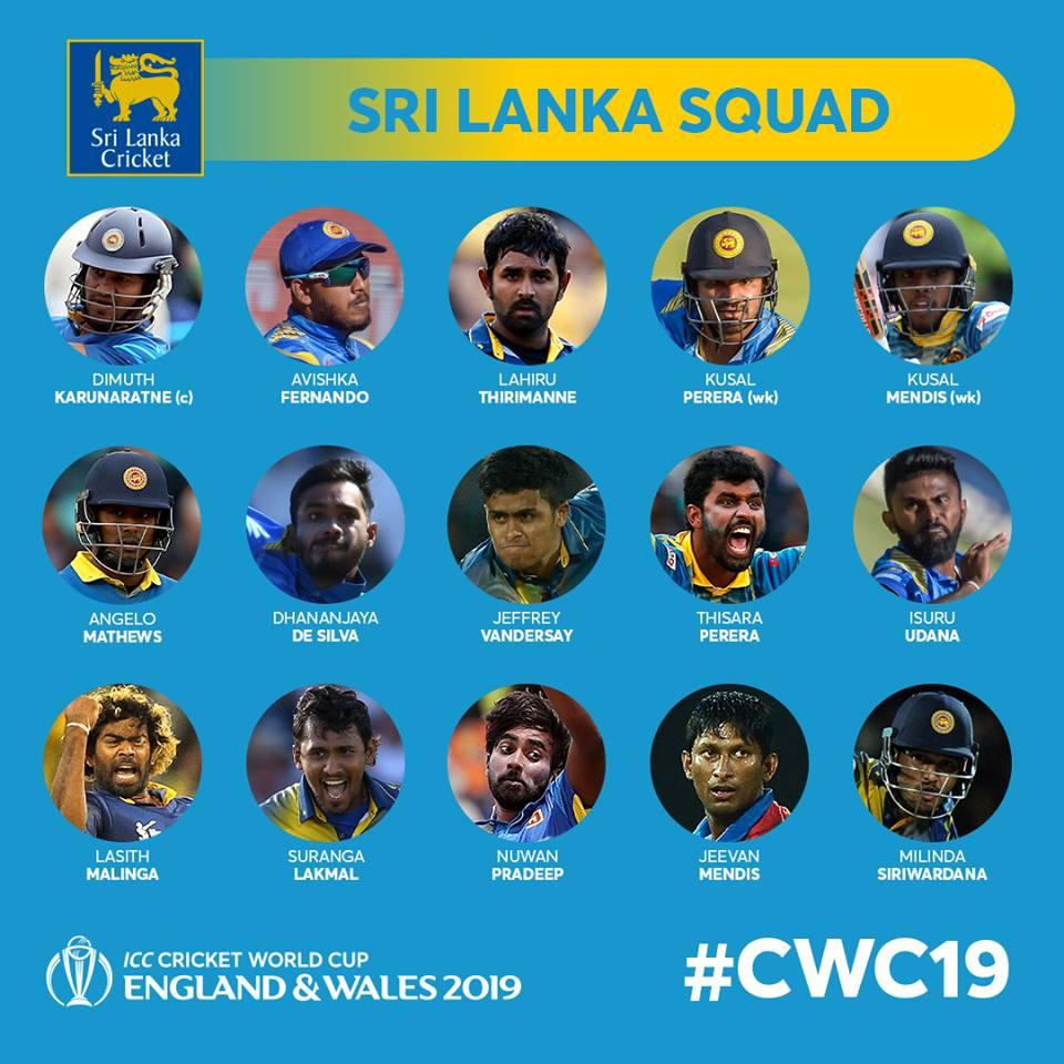 Sril Lanka World Cup 19 Squad